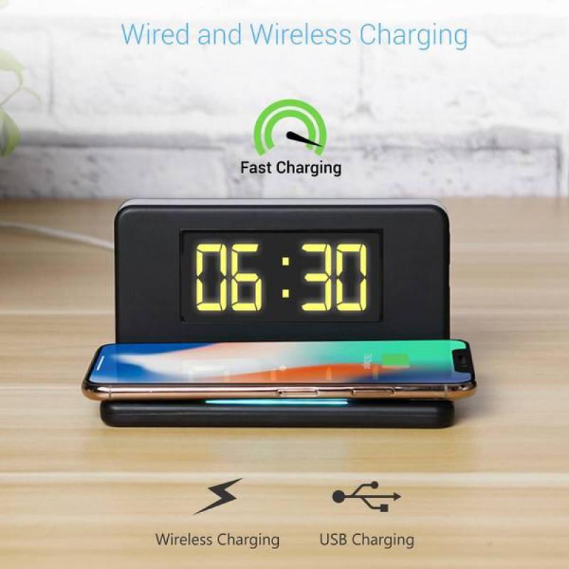 Portronics POR-198 Ciri Desktop Wireless Mobile Charger with Alarm Clock and LED Lamp