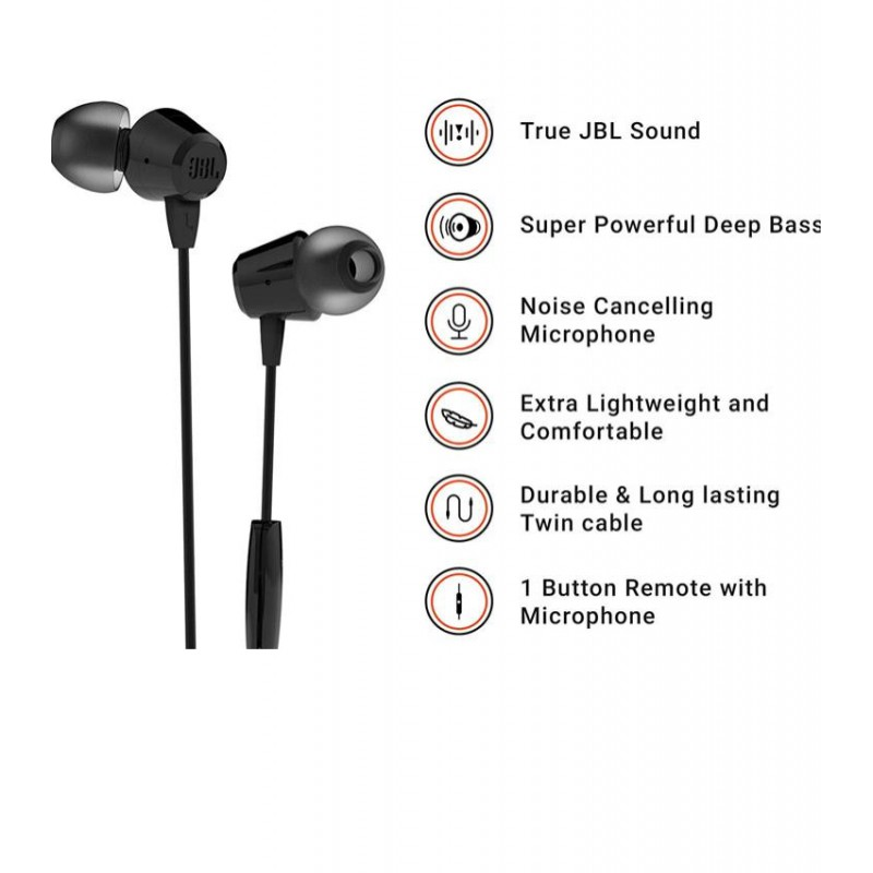 Jbl T50Hi IN-Ear Headphones Universal Super Deep Bass Earphone With Mic
