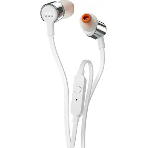JBL T210 Pure Bass in-Ear Headphones with Mic (White)
